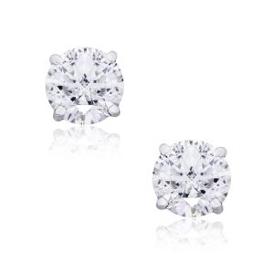 14k White Gold 1.65ctw Round Brilliant Diamond Stud Earrings
