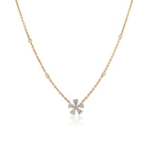 18k Rose Gold 0.85ctw Pear and Round Shape Diamond Flower Necklace