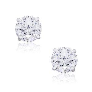 14k White Gold 2.07ctw Round Brilliant Diamond Stud Earrings