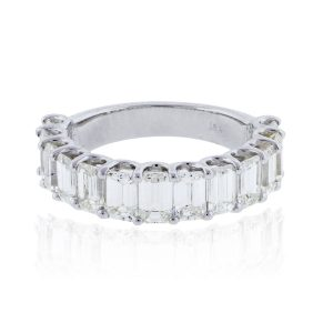 14k White Gold 3.85ctw Emerald Cut Diamond Wedding Band