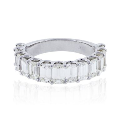 14k White Gold 3.85ctw Emerald Cut Diamond Wedding Band