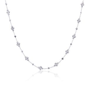 """18k White Gold 0.80ctw Diamonds by The Yard 16"""" Motif Necklace"""
