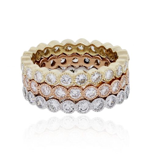 14k Tri Color Gold 3 Stackable 3.05ctw Diamond Eternity Bands