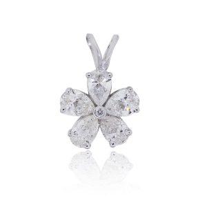 14k White Gold 0.99ctw Diamond Flower Pendant