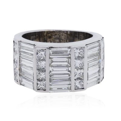 18k White Gold 5ctw Princess Cut and Baguette Diamond Wide Ring