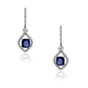 18k White Gold 0.45ctw Diamond and 2ctw Tanzanite Dangle Earrings
