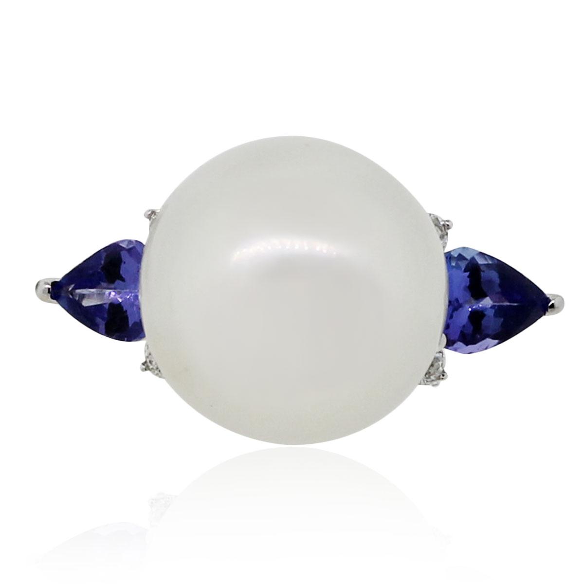 Pearl Tanzanite: Tanzanite & Pearl 14k White Gold 1.37ctw Stunning Ring