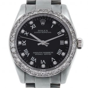Rolex Oyster Perpetual 177234 Roman Diamond Dial and Diamond Bezel Watch
