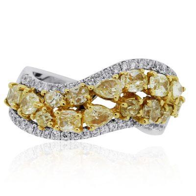 Fancy yellow diamond band
