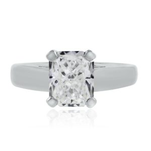 Platinum 2.05ct GIA Certified Radiant Cut Diamond Solitaire Engagement Ring
