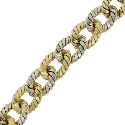 18k Two Tone Large Oval Link Bracelet