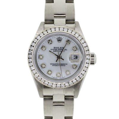 Rolex 79174 Datejust MOP Diamond Dial and Diamond Bezel Ladies Watch