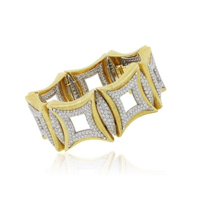 18k Two Tone Gold 21.32ctw Round Brilliant Diamond Wide Bracelet