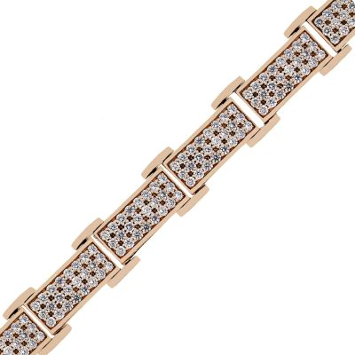 Rose gold diamond mens bracelet