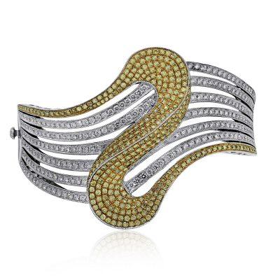 two tone diamond bangle