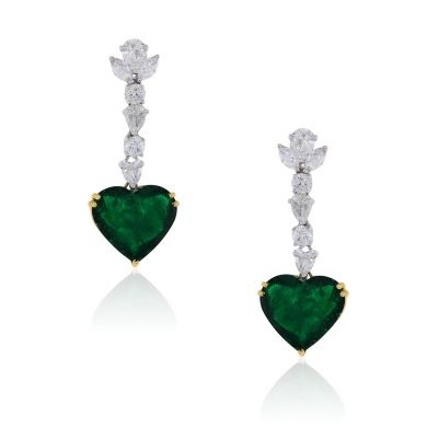 18k Two Tone Gold 14.40ctw Heart Shape Emerald and 4.50ctw Diamond Drop Earrings