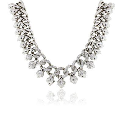 18k White Gold 9ctw Diamond Choker Necklace