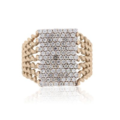 14k Rose Gold 0.98ctw Diamond Pave Woven Look Ring