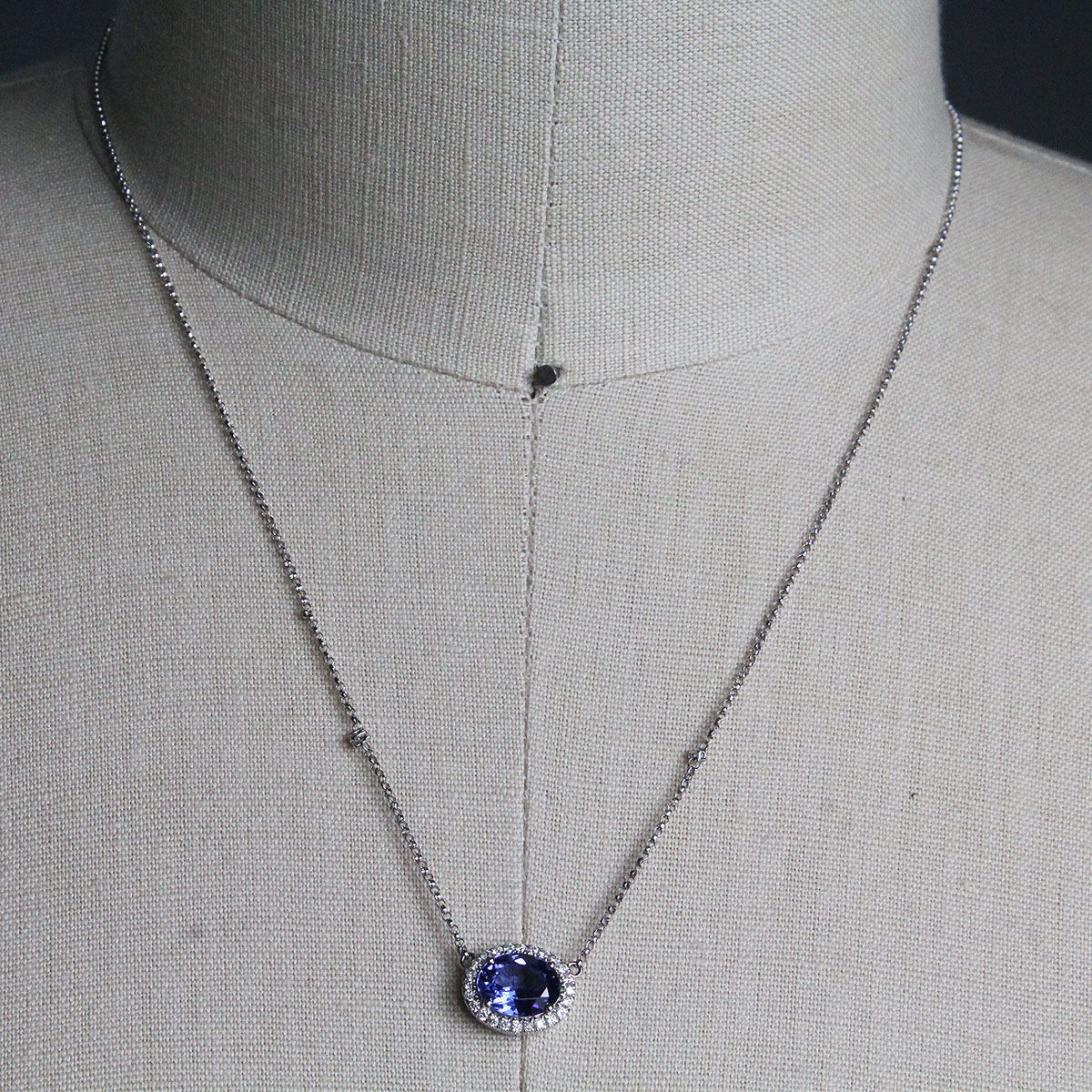 14k White Gold Tanzanite Oval Necklace With Diamonds