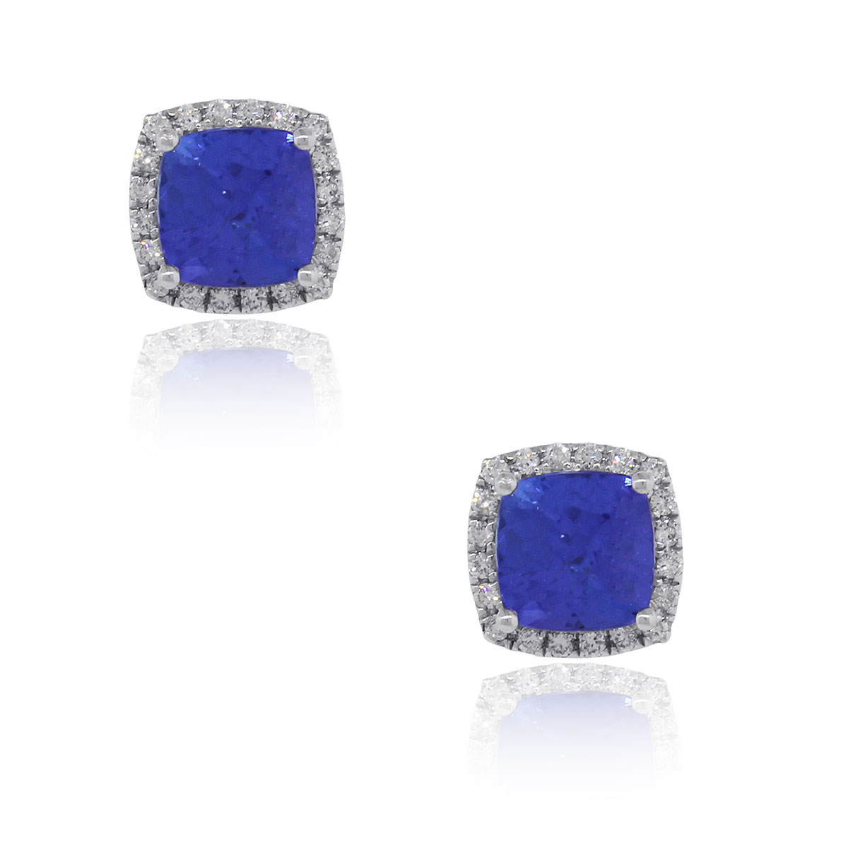 31d81d4945005c 14k White Gold 3.07ct Tanzanite and Diamond Halo Earrings