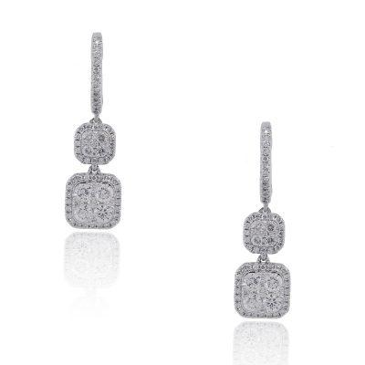18k White Gold Pave Diamond Droplet Earrings