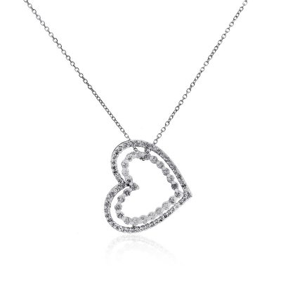 14k White Gold 1ctw Diamond Heart Pendant