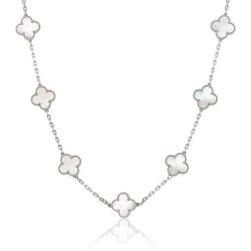 Van Cleef & Arpels 18k White Gold 10 Motif Necklace