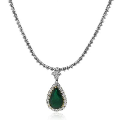 18k White Gold 7.44ct Emerald and 15.75ctw Diamond Pendant Necklace