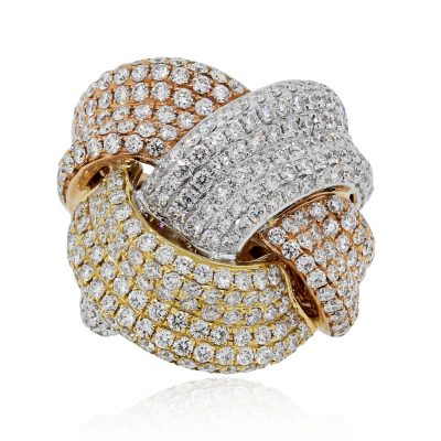 18k Tri Gold Diamond Ring