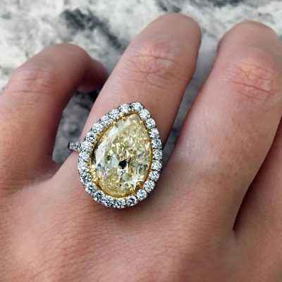Platinum 18k Gold 5.91ct Fancy Yellow Pear Shape and 1.09ctw Round Brilliant Diamond Ring