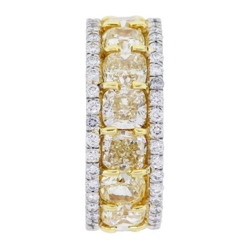Platinum 18k Gold 10.70ctw Fancy Yellow Cushion Cut and 1.68ctw Round Brilliant Diamond Eternity Band