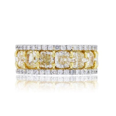 Platinum 18k Gold 10.70ctw Fancy Yellow Cushion Cut and 1.68ctw Round Brilliant Diamond Eternity Band