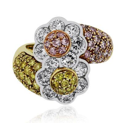 Tri color gold diamond ring