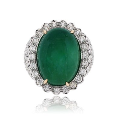 14k White Gold 30ct Oval Cabochon Emerald and 5ctw Diamond Ring