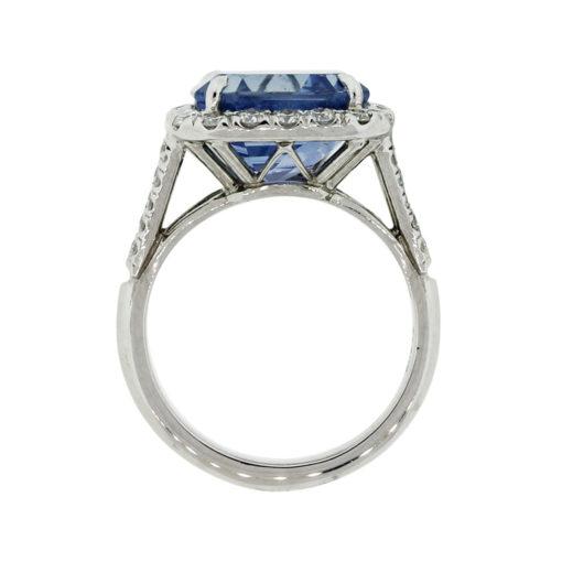 Platinum 8.13ct Ceylon Sapphire and Diamond AGL Certified Ring