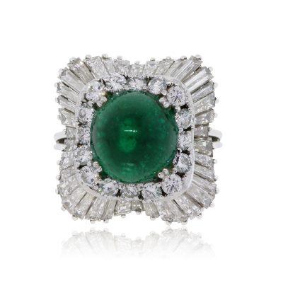 Platinum 6.08ct Emerald and 2ctw Diamond Ring