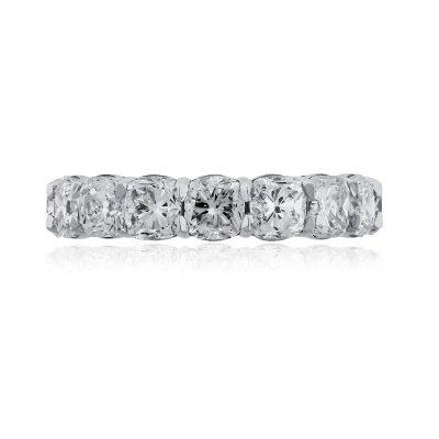 18k White Gold 6.71ctw Cushion Cut Diamond Eternity Band