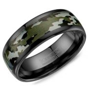 Crown Ring BCE-0003 Black Ceramic And Camo 8mm Wedding Band