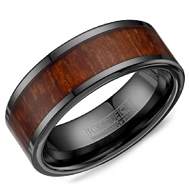 Crown Ring BCE-0003 Black Ceramic And Wood Wedding Band