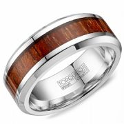 Crown ring CB-0002 White Cobalt And Wood 8mm Wedding Band
