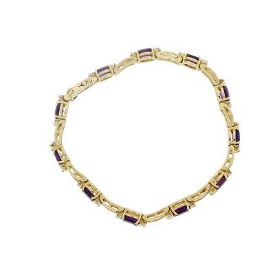 14k Yellow Gold 0.66ctw Diamond and Oval Shape Amethyst Bracelet