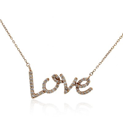 Rose gold diamond love necklace
