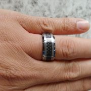 Crown Ring TU-0017 Tungsten And Carbon Fibre Wedding Band