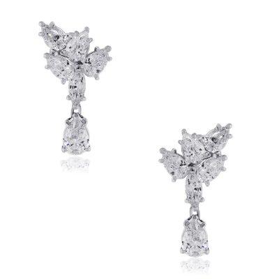 18k White Gold 1.92ct Pear Diamond Earrings