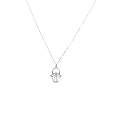 KC Designs 14k White Gold 0.66ctw Diamond Evil Eye Hamsa Pendant Necklace