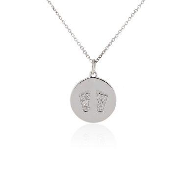 KC Designs 14k White Gold Diamond Baby Footprint Necklace