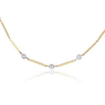 14k Yellow Gold 0.12ctw Diamond Bar Link Necklace
