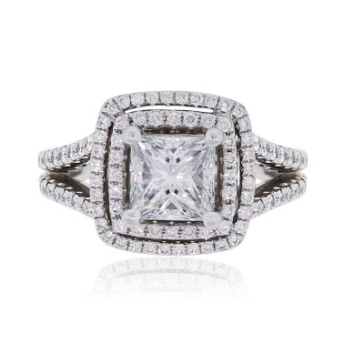 Platinum 1.57ct GIA Certified Princess Cut Diamond Double Halo Engagement Ring
