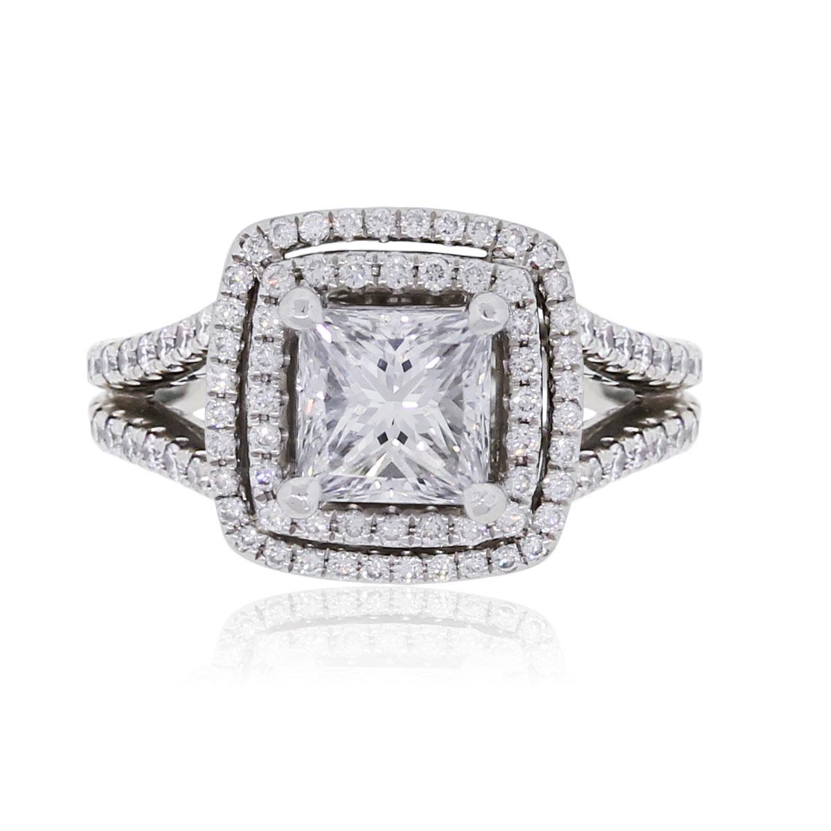 Platinum 1.57ct GIA Certified Princess Cut Diamond Double Halo Engagement Ring