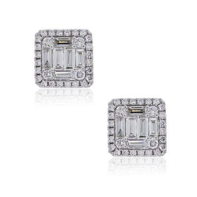 18k White Gold 1.08ctw Diamond Illusion Square Stud Earrings